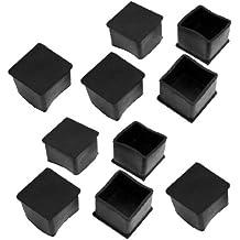 10 tapas de goma para patas de mesas y sillas, cuadradas, de goma, 40 x 40 mm, color negro
