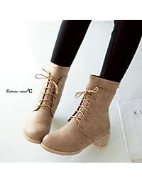 &ZHOU Botas otoño y del invierno botas cortas mujeres adultas 'Martin botas botas Knight a9 , apricot , 37