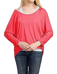 1a289db754 Mujeres Camiseta con Mangas Largas de Murciélago Cuello Redondo Camisa Tops  Holgados Suelto Jumper Pullover Sudadera