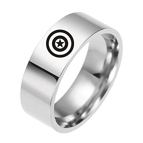RosewineC Marvel Captain America Avengers Ring Stainless Steel Size 6-13(12 12) - Stainless 7