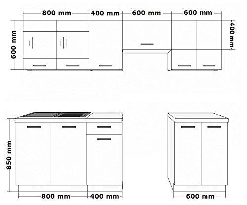 Küche Omega 240 cm Küchenzeile Küchenblock variabel