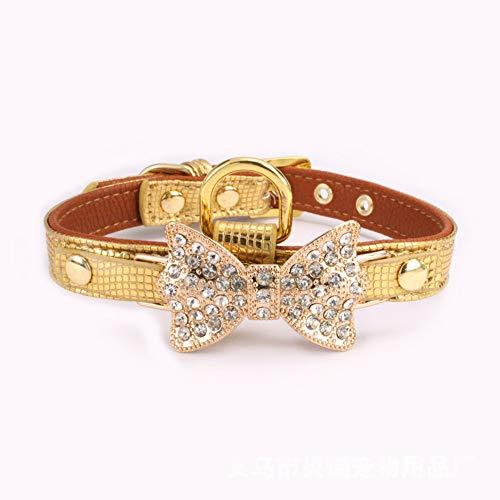 Klassische Halsbänder Strass Hundehalsbänder Kleine Kristall Hunde Bling Bogen Pu-Leder Hundehalsband Welpen Katzen Kragen Hundegeschirr Hundeleine Gold 1,5 * 30 cm