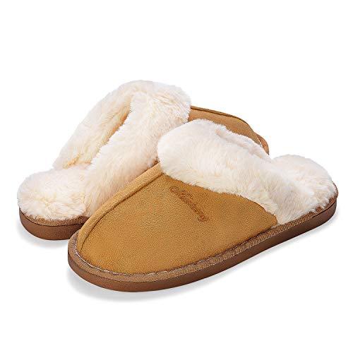 Sporzin Hausschuhe Herren Damen Slipper Plüsch Hausschuhe Winter Hausschuhe Rutschfeste Winter Baumwolle Pantoffeln Memory Foam Wärme Rutschfeste Hausschuhe, Khaki, 42/43 EU