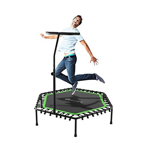 JIASHU Professionelle Mini Silent Trampoline Übung Indoor mit verstellbarem Handlauf für Erwachsene Kinder - Max 220 Lbs Perfect Jumping Cardio Trainer Workout