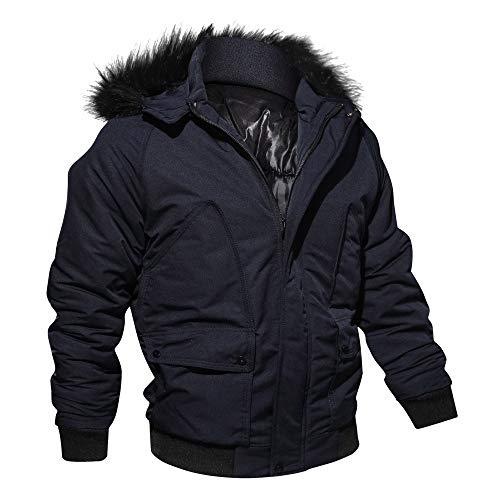 Hombres y niños invierno cárdigan Chaqueta,Sonnena ⚽ invierno casual chaqueta color liso manga larga con capucha cremallera guapo hombre moda calle elegante al aire libre