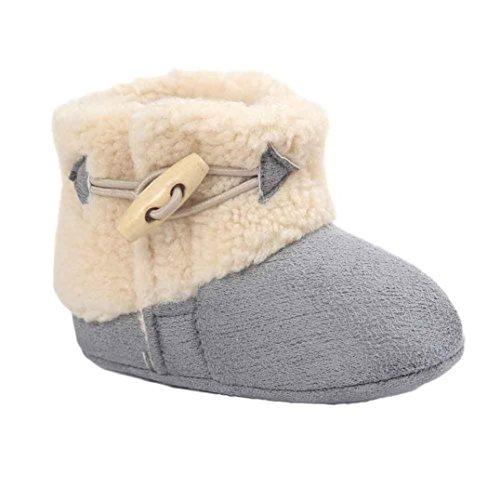 Amlaiworld Lauflernschuhe, Baby Schneestiefel Halten Warme Weiche Sohle Weiche Krippe Schuhe Kleinkind Stiefel (11cm, Grau) (Mädchen Cowboy-stiefel, Größe 11)