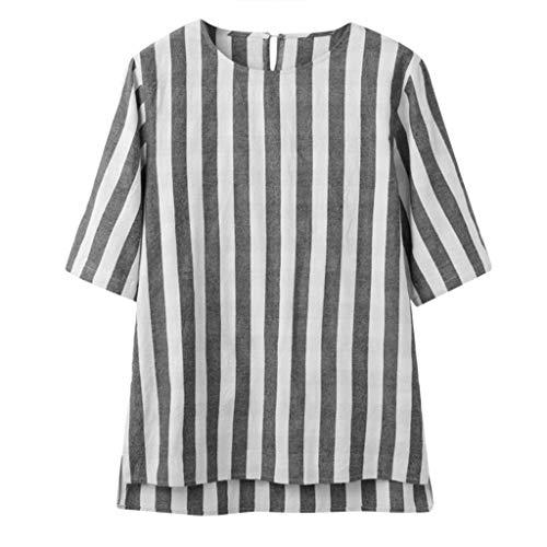 UINGKID Herren T-Shirt Kurzarm Slim fit Männer Casual Bluse Leinen Lose O-Neck Tops -