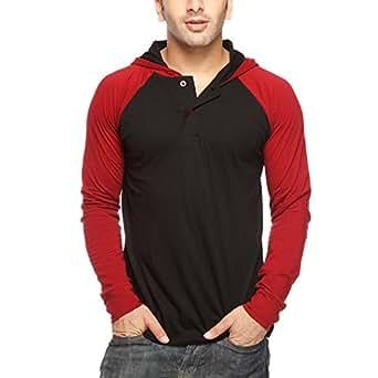 Gritstones Men's Hooded T-Shirt (GSFSPLKTRGLNHDD60056BLK_Maroon _Small)