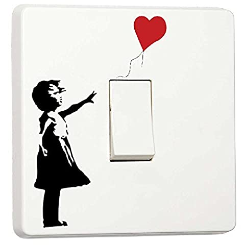 Banksy Graffiti Art Girl with Balloon Single Light Switch Cover Vinyl Sticker