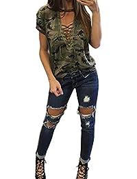 Mujeres de camisas,RETUROM Mujeres Casual manga larga Camouflage Imprimir Blusa Camiseta