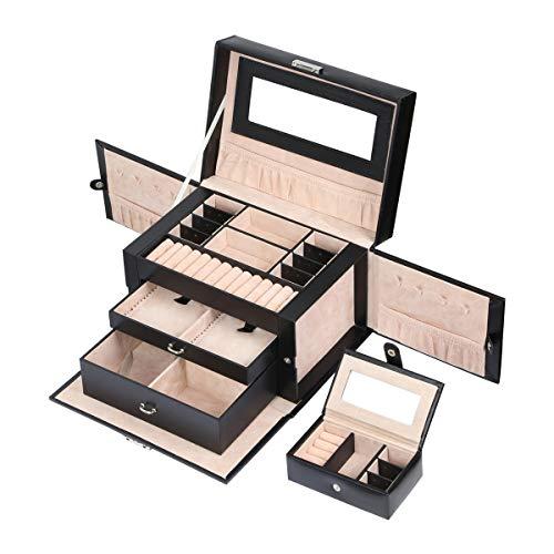 Meerveil Schmuckkasten, abschließbareSchmuckschatulle mit 3 Ebenen, Schmuckkästchen mit herausnehmbarem Reise-Box, Schmuckkoffer mit Spiegel für Damen und Mädchen, Geschenk für Frauen, Schwarz