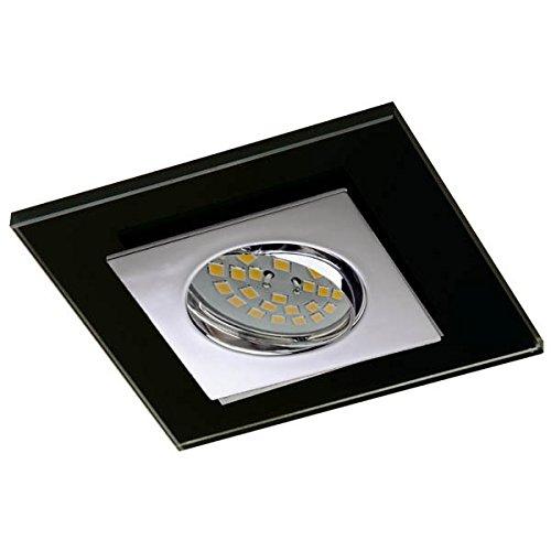 CristalRecord-Einbauleuchte Zeta, quadratisch 30° schwenkbar Glas Finish in Chrom Schwarz -