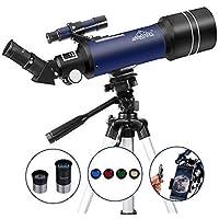 Telescopio Astronómico para Niños Principiantes o Adultos 400/70mm Refractores Profesional Portátil y Equipado con Trípode 110cm, Adaptador De Teléfono MAXLAPTER