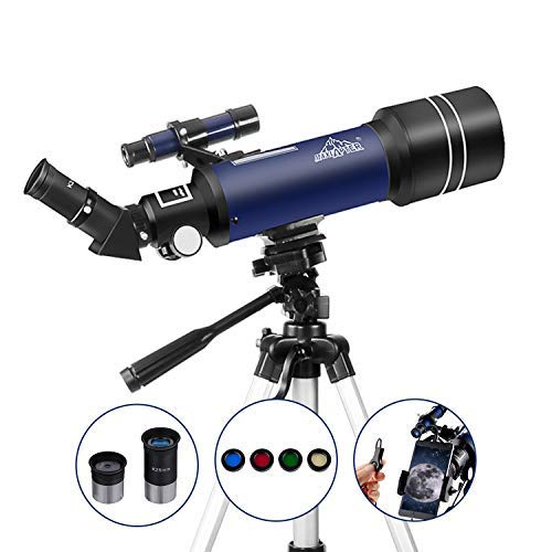 Astronomisches Teleskop für Kinder Oder Anfänger Refraktor Monokular 400/70mm, Tragbar und Mit Stativ 110cm, Smartphone Adapter MAXLAPTER