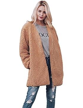 [Patrocinado]Sonnena piel sintética de las mujeres cálido manga larga chaqueta abrigo sólido chaleco ropa negro marrón extra-Large