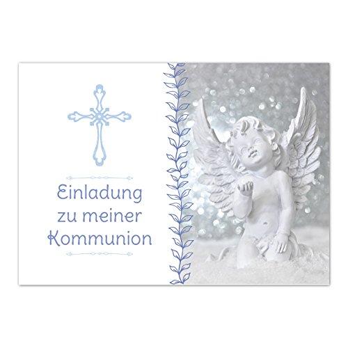 15 x Einladungskarten Kommunion mit Umschlag / Engel mit verspielten Details / Kommunionskarten / Einladungen zur Feier