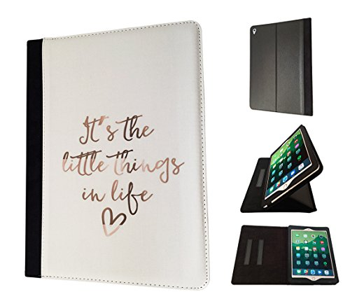 Preisvergleich Produktbild 003421 - The little things I life quote Design Apple ipad Mini 4 -2015 Fahion Trend TPU Leder Brieftasche Hülle Flip Cover Book Wallet Stand halter Case