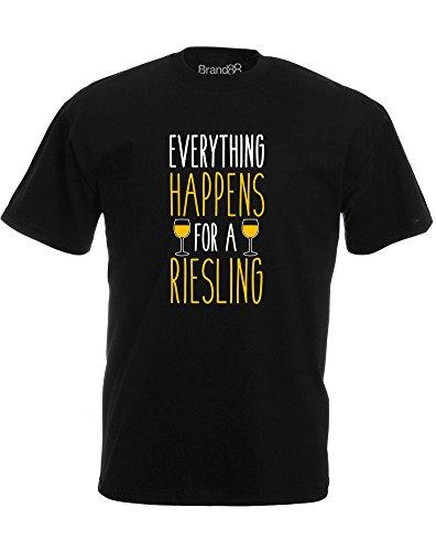 Brand88 - Everything Happens for a Riesling, Mann Gedruckt T-Shirt Schwarz/Weiß/Gelb