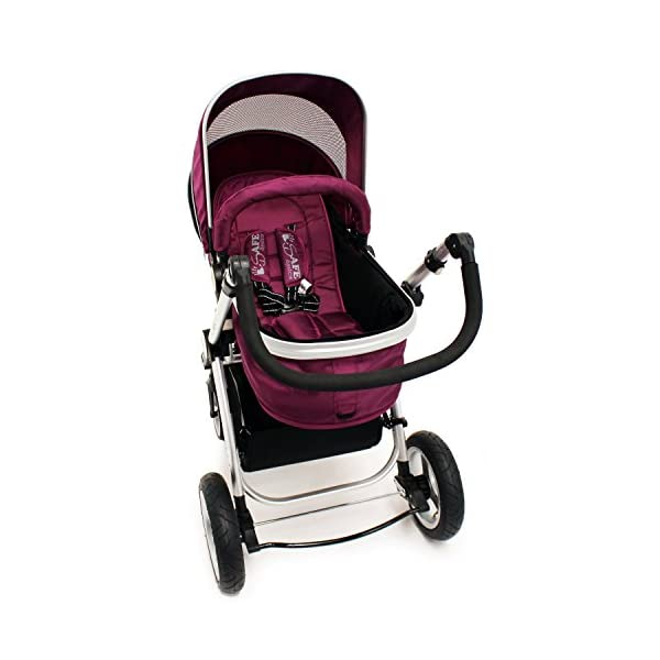 iSafe Trio Pram Stroller 2in1 - Plum (Purple) iSafe 2 in 1 Stroller / Pram Extremely Easy Conversion To A Full Size Carrycot For Unrivalled Comfort Complete With Boot Cover, Luxury Liner, 5 Point Harness, Raincover, Shopping Basket With Closed Ziped Top High Quality Rubber Inflatable Wheels With The Full All around Soft Suspension For That Perfect Unrivalled Ride 6
