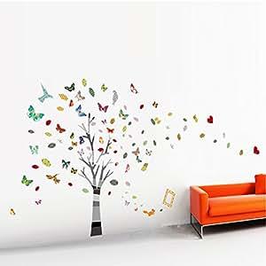 walplus autocollant d coratif mural pour cr che et chambre d 39 enfant arbre g ant avec papillons. Black Bedroom Furniture Sets. Home Design Ideas