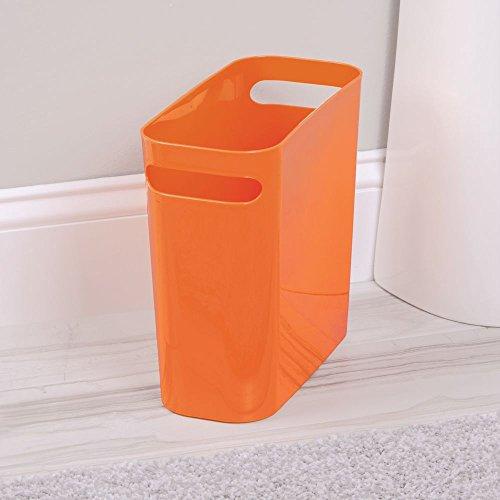 InterDesign Una Corbeille à Papier, Poubelle En Plastique Avec Poignées,  Conteneur à Papier Pour Bureau, Cuisine Ou Salle De Bain, Orange
