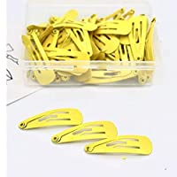 Zhongcheng Phone Case 50 PCS Kids Hairpins Solid Simple Style Child Hair Accessories Small Hairpins With Case(Sky Blue) (Color : Yellow)