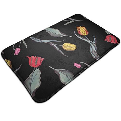Dimension Art Tulips Floral Memory Foam Bath Mat Non Slip Absorbent Super Cozy Soft Velvet Bathroom Rug Carpet, 19.7