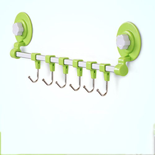 ASL Row Hook Strong Nahtlose Saugnäpfe Kleber Türhänger Wandhaken Load-Lager Küche Kreativ Nagelfreie Haken Qualität ( Farbe : Grün , größe : S )