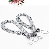 UKKRW 1 Pair Knitted Tie Back Braided Curtain Tiebacks Holders for Home Drapes and Curtain Decor, Sturdy Solid Window Curtain Tie Backs Rope Holder
