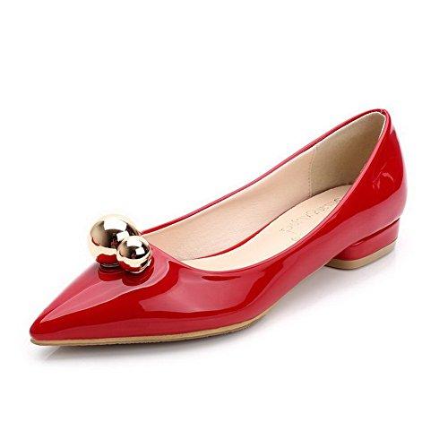 AalarDom Femme Matière Souple Pointu à Talon Bas Tire Chaussures Légeres Rouge-Métal