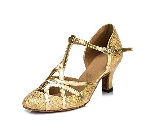 Minitoo qj6133Damen Geschlossen Zehen High Heel PU Leder Glitzer Salsa Tango Ballsaal Latin t-strap Dance Schuhe, Gold Gold-6cm Heel ,42 EU/8 UK