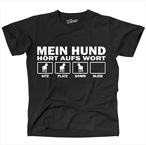 siviwonder-unisex-t-shirt-mein-hund-hunde-horen-aufs-wort-schwarz-weiss-xl