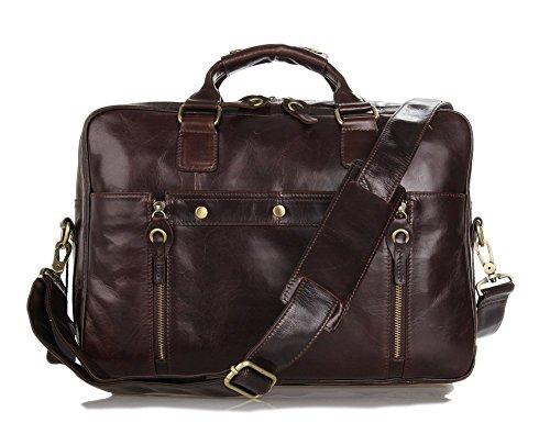 Everdoss Hommes sac à main en cuir véritable de grande capacité sac de messager sac à bandoulière sac de documents sac de business sac d'affaires sac d'ordinateur café