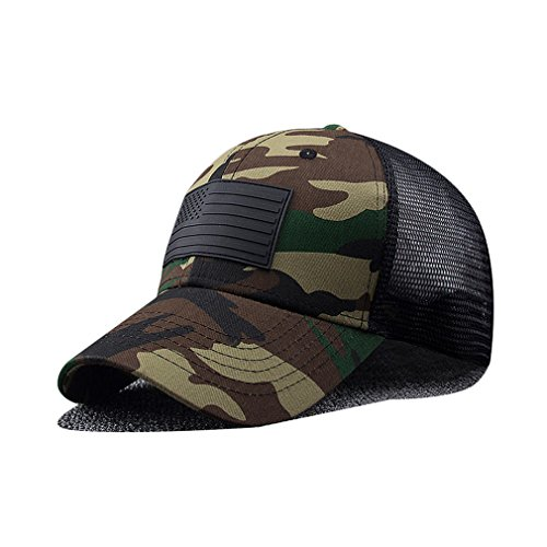 Camouflage Military Style Cap (RICHTOER Unisex Camouflage Baseball Cap Casual Military American Flag Cap for Outdoor)