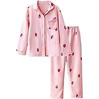 DUKUNKUN Pijama Dulce Estampado De Fresa Acolchado Hembra Otoño E Invierno Cálido Pijama De Estudiante Conjunto,L
