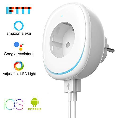 WiFi Smart Steckdose, MAMYOK WLAN Steckdose, Kompatibel mit 2 USB-Port-Fernbedienung mit Alexa,Google-Startseite und IFTTT, Zeitsteuerungs-Energiesparfunktion, Kostenlose APP für IOS/Android (1 Pack)