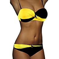 ALZORA Push Up Bandeau Twist Bikini Farbauswahl Set Damen Pushup Badeanzug inkl. Träger Top + Hose Set , 8000