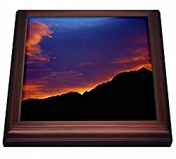 3dRose trv_26253_1 Colorado Boulder Sunset Over Flatirons Trivet with Ceramic Tile, 8 by 8, Brown