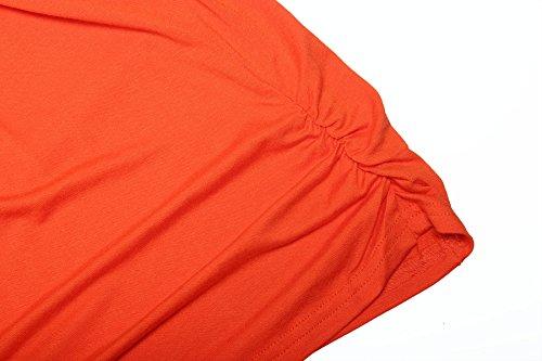 ReliBeauty Damen Boot Ausschnitt Shirring T-Shirts Kurzarm Falten Volant Dolman Schmetterling Ärmel Einfarbige Tunika Tops Orangerot