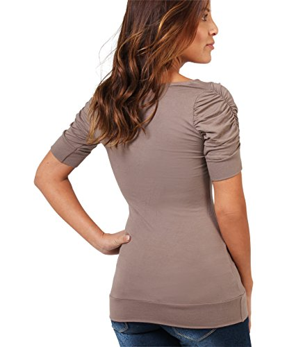 KRISP® Damen Shirt mit Gerafften Ärmeln Mokka (3900)
