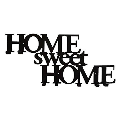 Appendini per abbigliamento con 7 ganci appendiabiti da muro in metallo attaccapanni home sweet home nero
