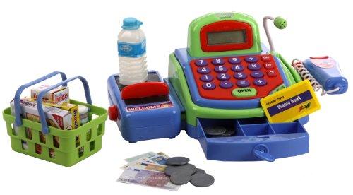 Kasse Scannerkasse für den Kaufladen mit Scanner Laufband Mikrofon Zubehör uvm (Weg Laufband)