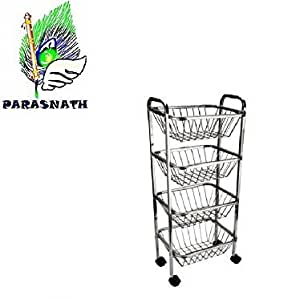 Parasnath Square Vegetable And Fruit Trolley (4 Stand-30 Inch) Quality Improved From 1 Feb 2017 + Mirror Finnish Look