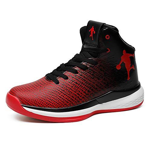 YSZDM Basketball-Schuhe, strapazierfähige, Rutschfeste High-Top-Sneakers Dämpfung atmungsaktive Herren Outdoor-Stiefel,Red,43 (High Top Jordans Schuhe)
