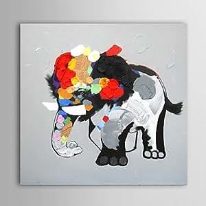 SK- peinture à l'huile moderne main éléphant abstraite toile avec cadre étiré peint