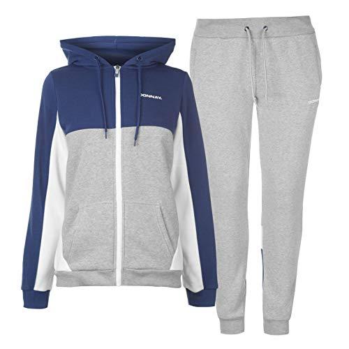 Grau Sweatsuit (Donnay Damen Sweatsuit Jersey Jogginghose Mit Bündchen Grau/marinefarbe XL)