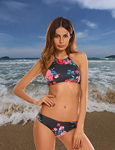 EKOUAER Damen Bustier Bikini High Neck Bikini-Set Druck Push up Badenanzug Blumendruck Neckholder Swimsuit Zweiteilig Schwimmanzug (EU 34(Herstellergröße: XS), Blumen 2)