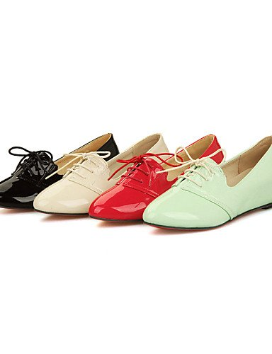ZQ Scarpe Donna - Stringate - Formale / Casual - Punta arrotondata - Zeppa - Vernice - Nero / Verde / Rosso / Beige , red-us10.5 / eu42 / uk8.5 / cn43 , red-us10.5 / eu42 / uk8.5 / cn43 red-us6.5-7 / eu37 / uk4.5-5 / cn37