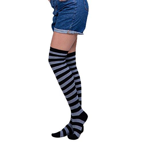Goosuny 1 Paar Damen Kniestrümpfe Frauen Sexy Streifen Overknee Socken Regenbogen Farbe Lange Strümpfe Mädchen Cheerleader Sportsocken Baumwollstrümpfe(G)