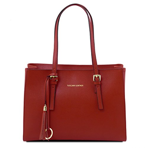 Tuscany Leather TL Bag Schultertasche aus Saffiano Leder Nude Rot